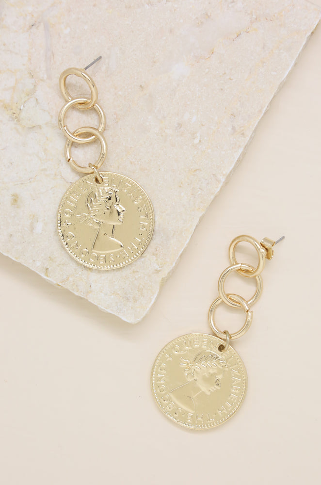 Coin Stopper 18kt Gold Plated Earrings
