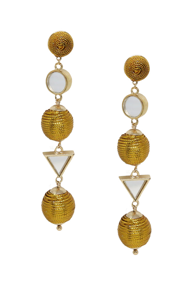 Geometric Mirrored Drop Earrings in Gold