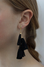 Daydreamer Tassel Earrings in Black and Gold