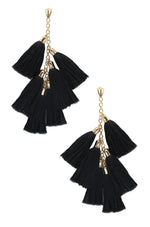 Daydreamer Tassel Earrings in Black and Gold on white background