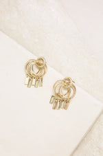 Mini Jingle Bar Charms & 18k Gold Plated Stud Earrings