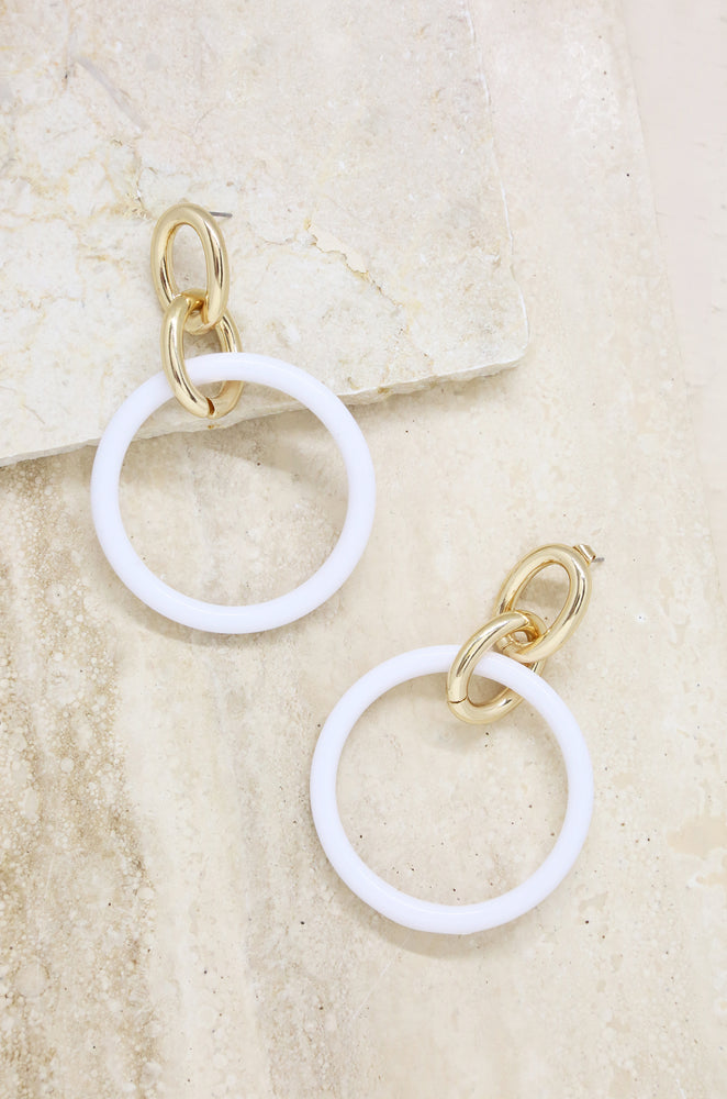 Be True White & 18k Gold Plated Dangle Earrings