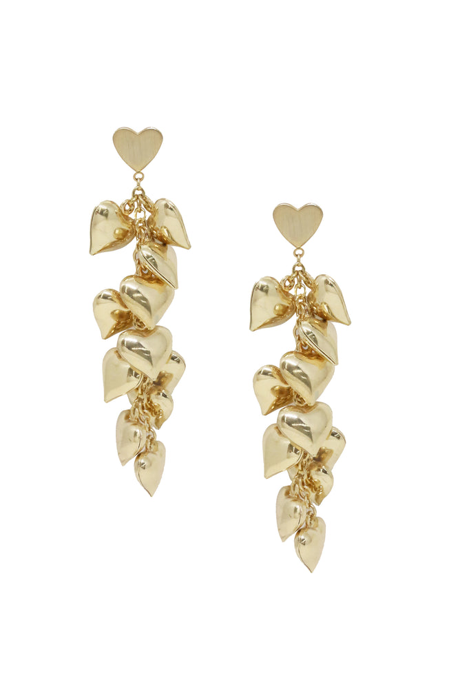 Heart Cluster 18k Gold Plated Drop Earrings