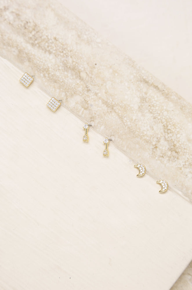 Moon, Arrow & Square Crystal 18k Gold Plated Stud Set