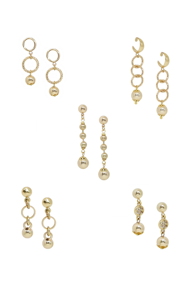 Mini Assorted 18k Gold Plated Dangle Earrings - Set of 5 Pairs