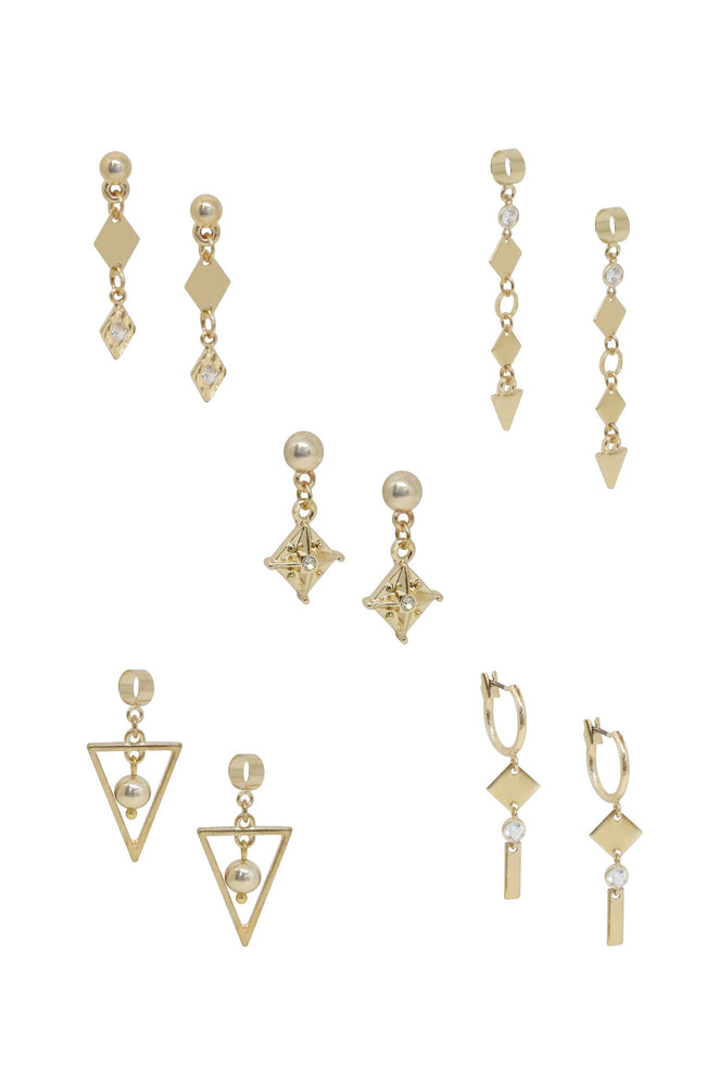 Mini Assorted 18k Gold Plated Dangle Diamond Shaped Earrings Set of 5 on white background