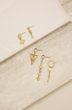 Mini Assorted 18k Gold Plated Dangle Diamond Shaped Earrings Set of 5