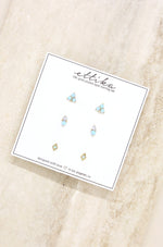 Blue Kyocera Opal & 18kt Gold Plated Geometric Stud Set