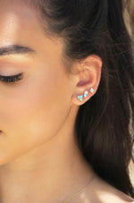 Blue Kyocera Opal & 18k Gold Plated Geometric Stud Set