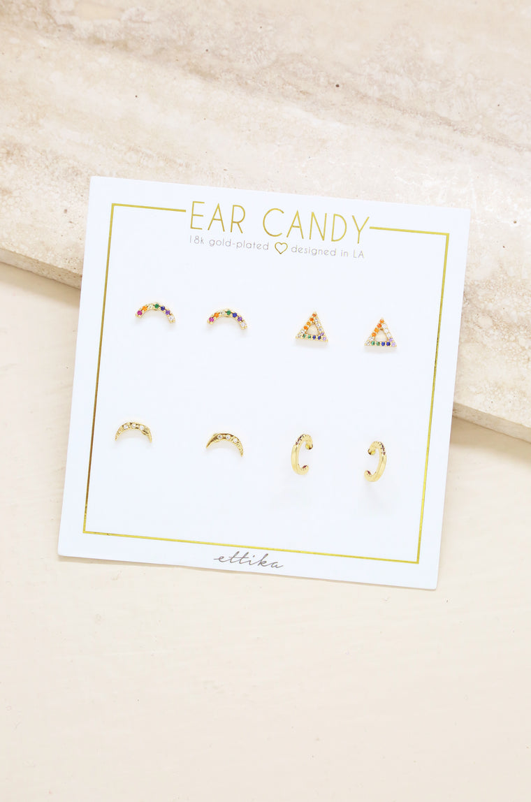 Rainbow Crystal & 18kt Gold Plated Set of 4 Stud Earrings