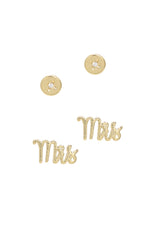 Mrs. 18k Gold Plated Earring Stud Set
