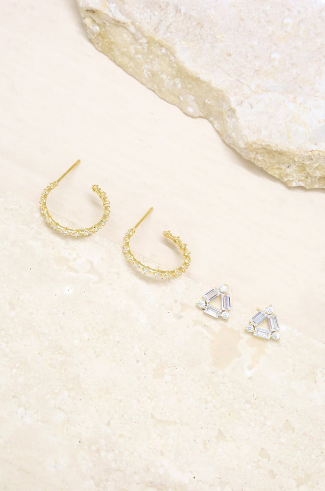 Stud & Hoop Earring Set in Clear and Gold