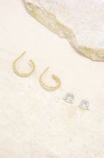 Triangle Crystal Stud & 18k Gold Plated Hoop Earring Set