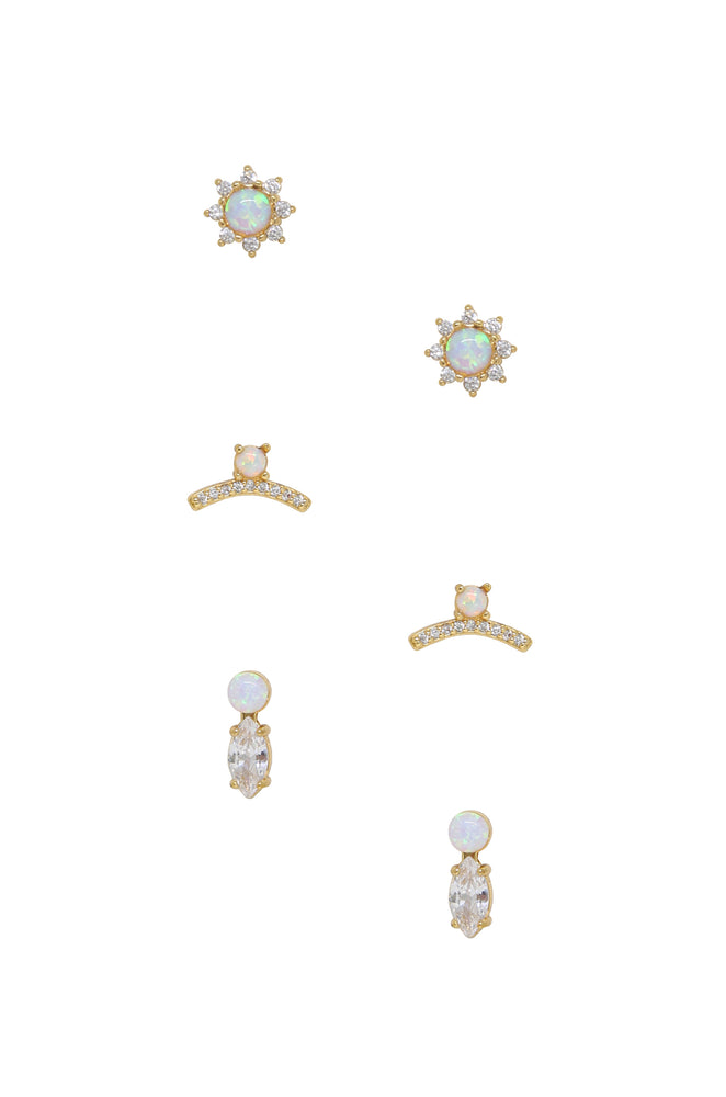 Opal and Crystal Babies Earring Set