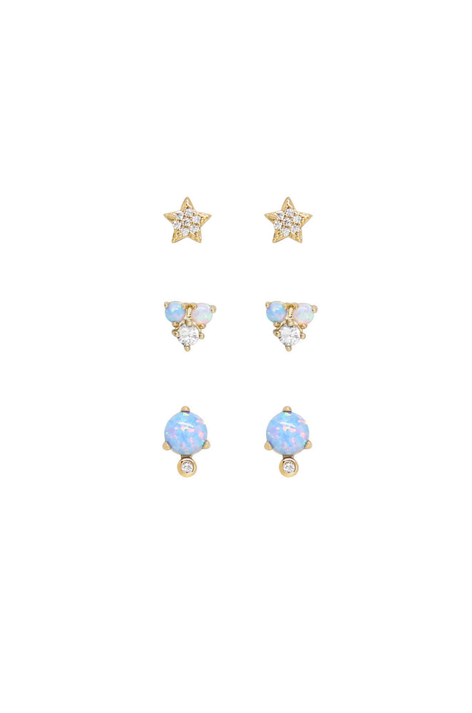 Blue Opal and Crystal Celestial 18k Gold Plated Earring Set