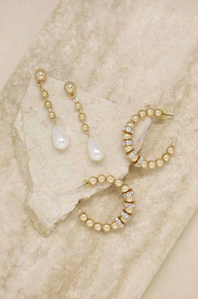 Double Take Pearl and Crystal 18k Gold Plated Earring Set