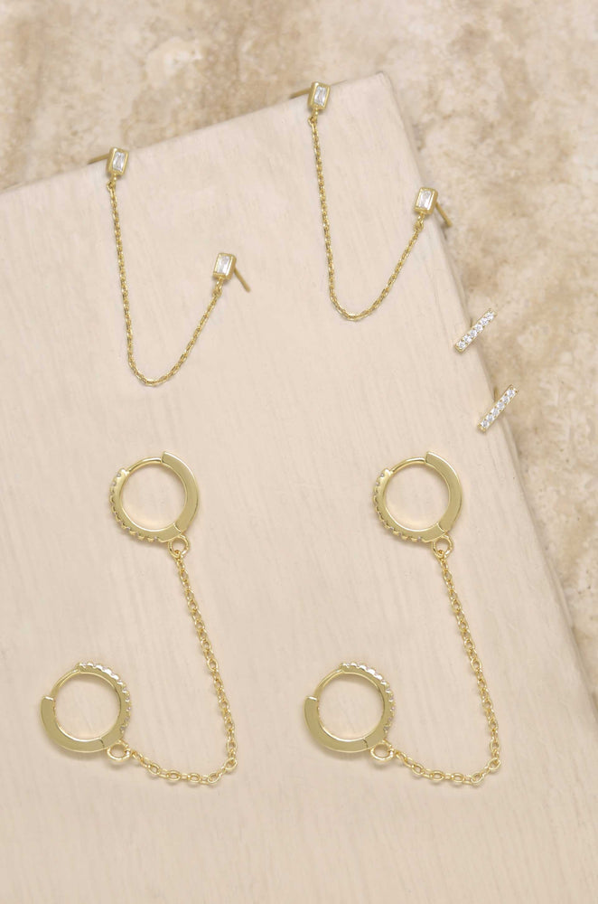 Chain Dangle Duo and Stud Earring Layering 18k Gold Plated Set of 3