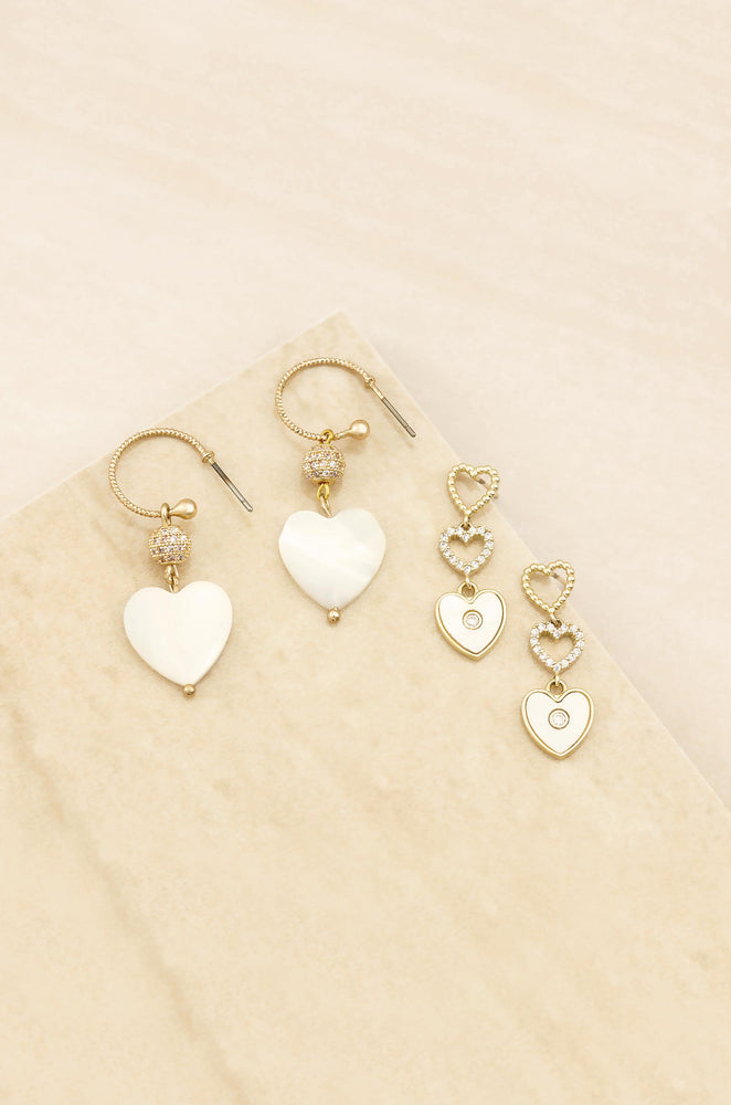 Mother of Pearl Heart 18k Gold Plated Earring Set