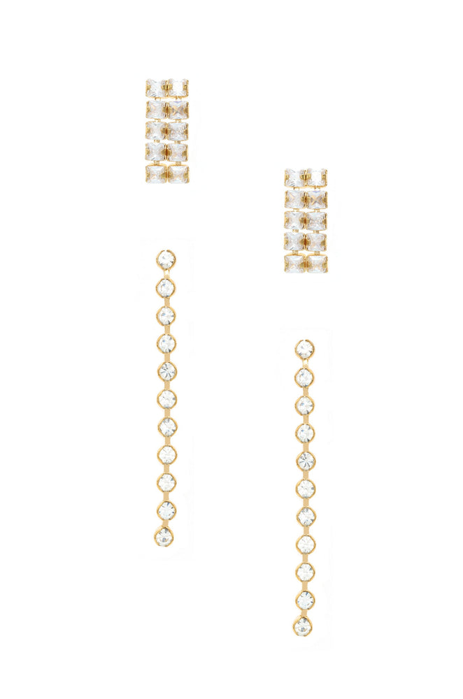 Crystal Sisters 18k Gold Plated Earring Set