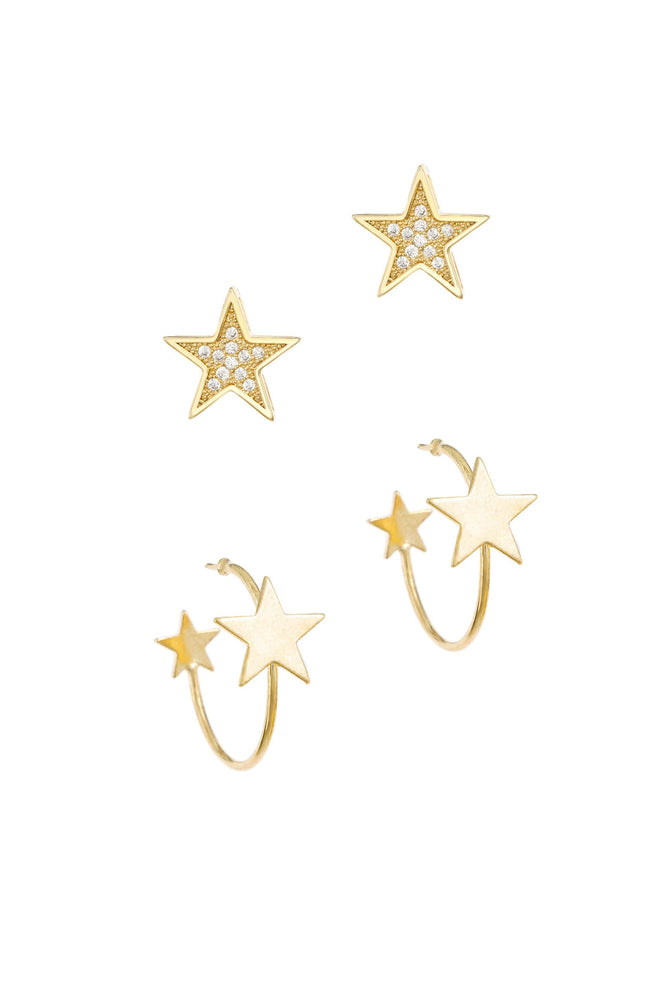 Galactic 18k Gold Plated Earring Set