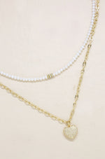 Fit for a Princess Pearl and Heart Layered 18k Gold Plated Necklace Set