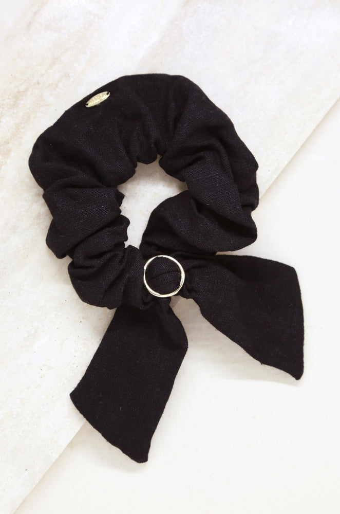 Flirty Bow Hair Scrunchie in Black