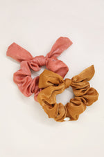 Bella Satin Hair Scrunchie Set in Rust and Coral