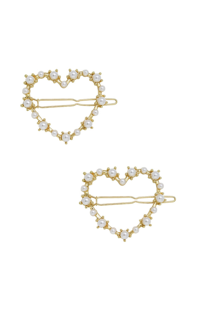 Pearl Heart Hair Barrette Set of 2 in Gold