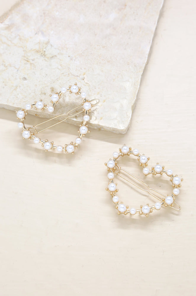 Pearl Heart Hair Clip Set of 2 in Gold
