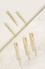 Pearl and Clear Crystal Mixed Hair Pin Set of 6