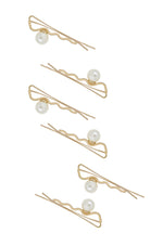 Zig Zag Pearl and Gold Hair Pin Set of 6