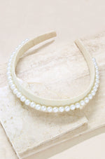 Classic Cream and Pearl Headband on slate background