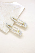 Gatsby Crystal & Gold Clip Set on slate background