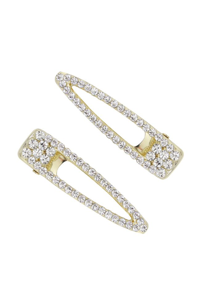 Gatsby Crystal & Gold Clip Set on white background
