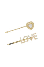 Pearl & Gold Love Heart Hair Pin Set