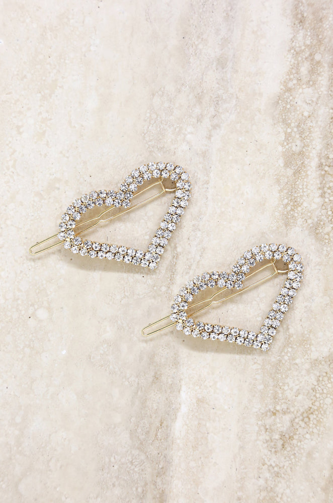 Aphrodite Heart Crystal Barrette Set