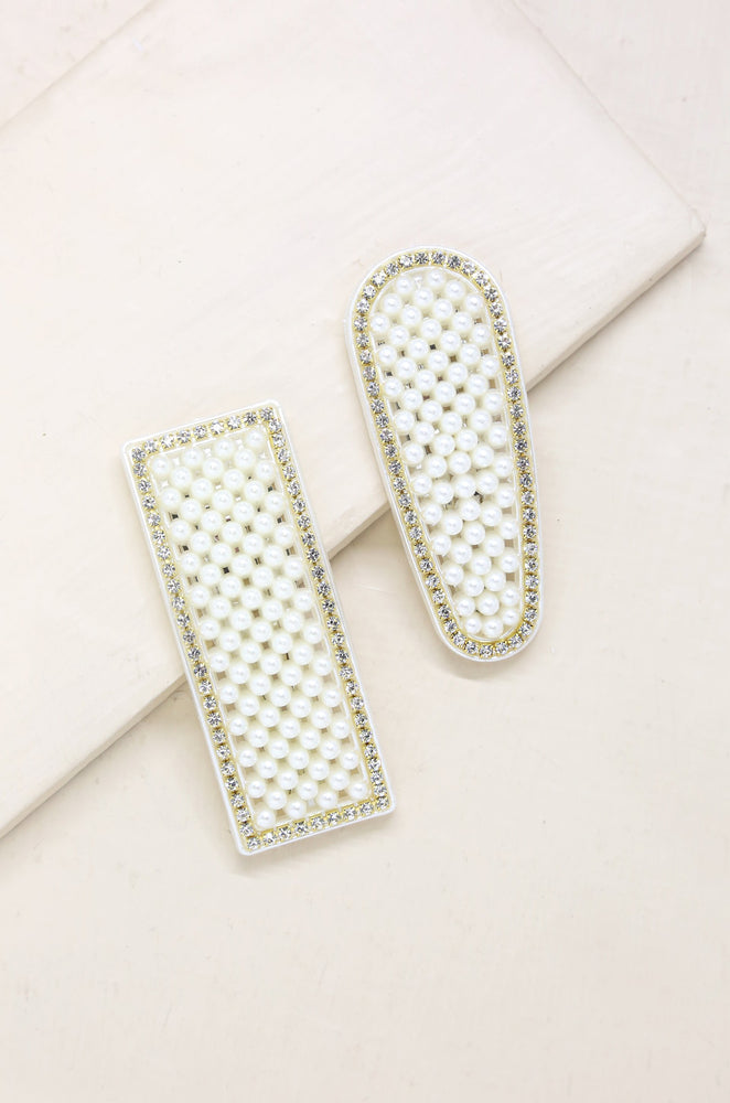 Dolly Pearl and Crystal Barrette Set