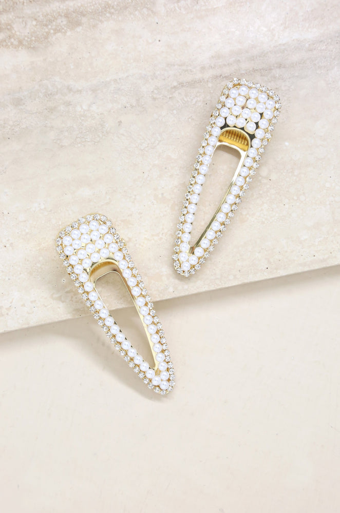 Waldorf Pearl and Crystal Hair Clip Set