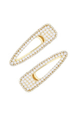 Waldorf Pearl and Crystal Hair Clip Set on white background