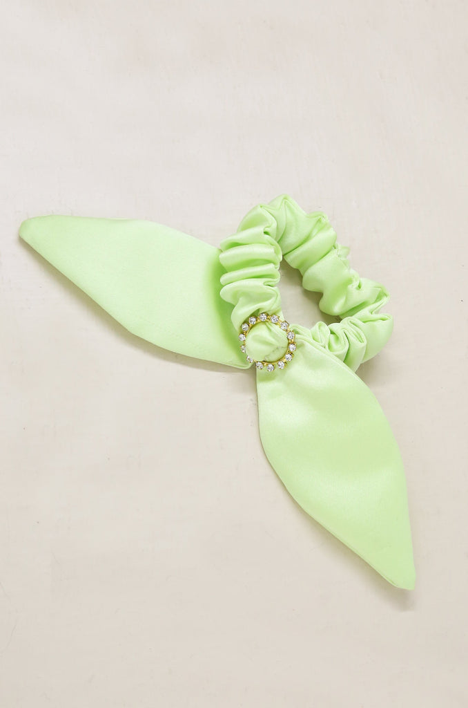 Neon Scrunchie with Crystal in Lime Green on slate background