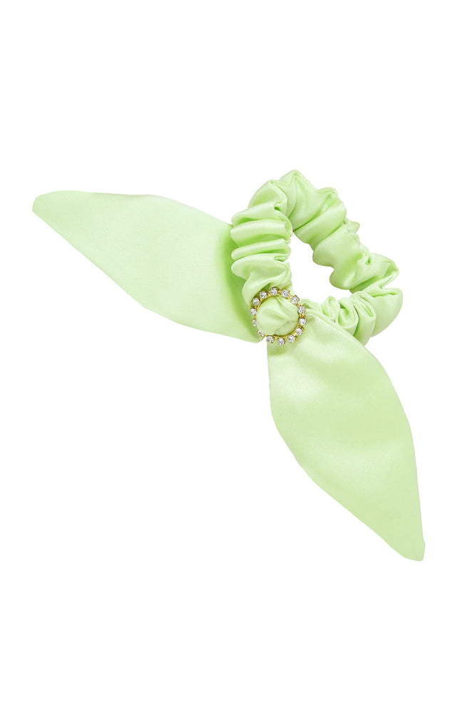 Neon Scrunchie with Crystal in Lime Green