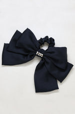 Oversized Bow Scrunchie with Crystal in Black