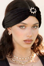 Velvet Headband with Crystal Ring in Black