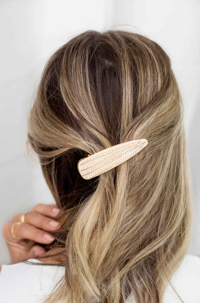 Crystal Striped Brushed Gold Hair Clip