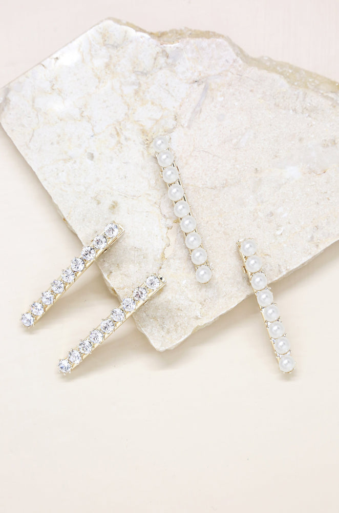 Crystal and Pearl Hair Clip Set of 4
