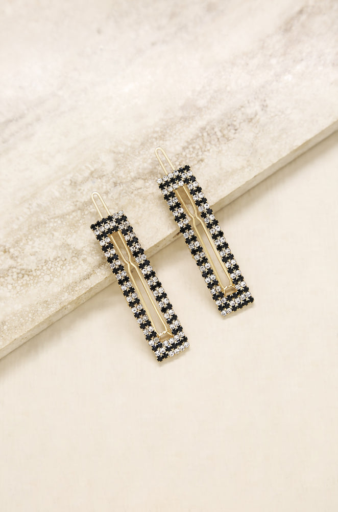 Black & Clear Crystal Rectangle Hair Barrettes