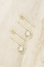 Spell Casting Crystal and Pearl Hair Pins