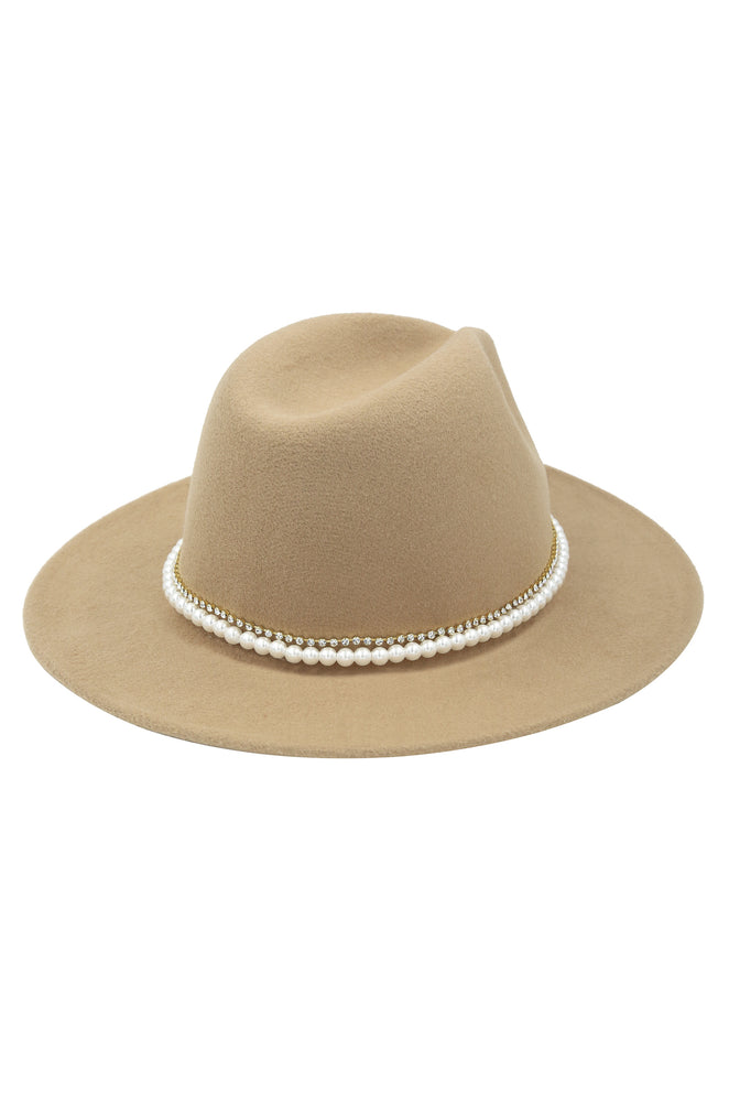 With the Band Hat in Tan with Pearls