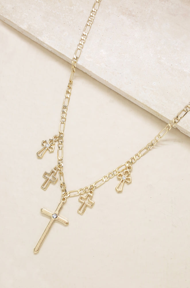Multi Cross Necklace in Gold