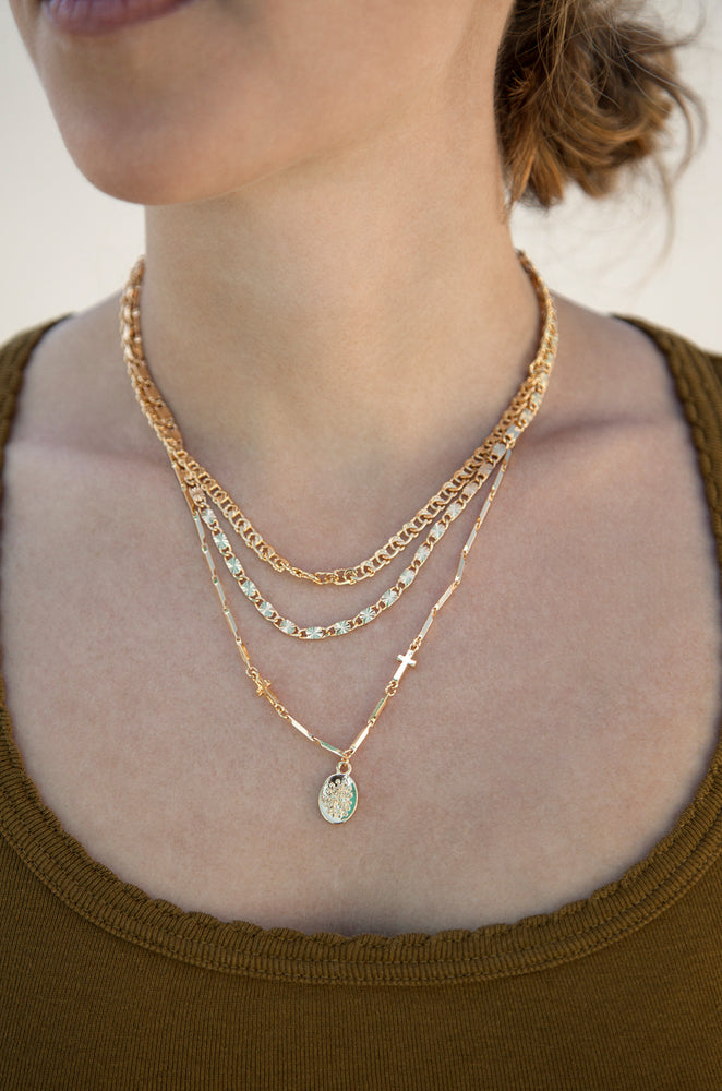 Mixed Layers Necklace in Gold